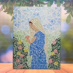 Mosaico Maria com flores